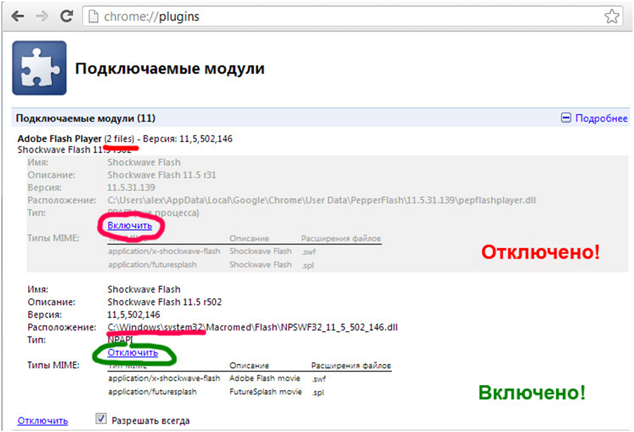 Настройка Flash для Google Chrome