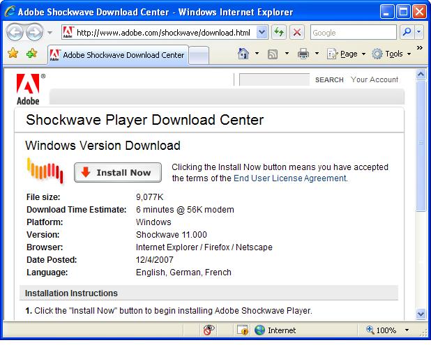 Скачать Adobe Shockwave Player бесплатно на русском языке