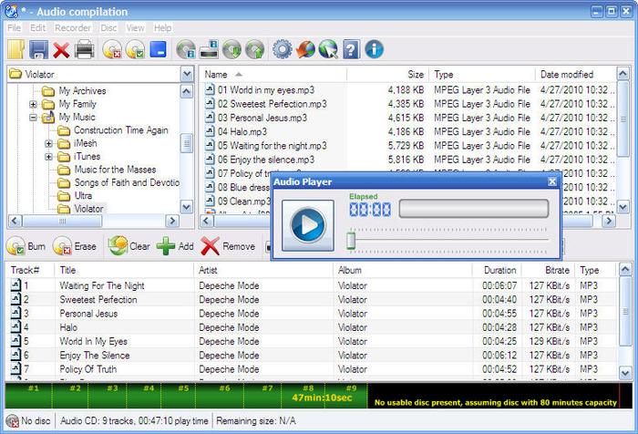 Интерфейс программы CDBurnerXP - страница копирования файлов