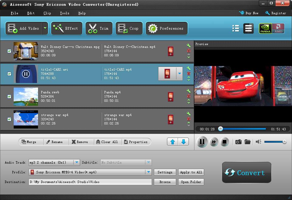 Aiseesoft Sony Ericsson Video Converter 1