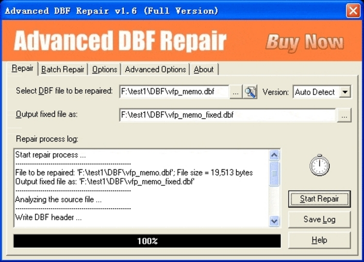 Check and repair DBF 2